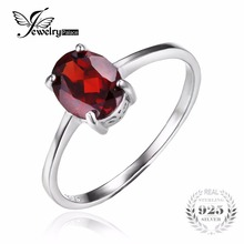 Jewelrypalace 1.7ct oval rojo granate natural birthstone anillo solitario anillo de granate genuino de la plata esterlina 925 joyería fina de regalo