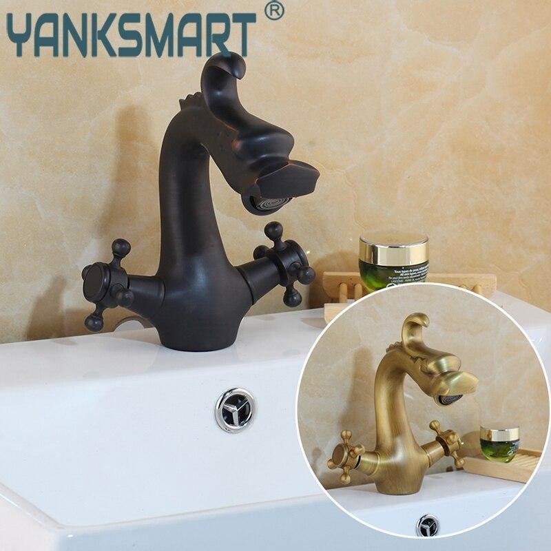 Bathroom Dragon Design Faucet Antique Brass Mixer Black Basin Faucets Luxury Sink Mixer Tap Deck Mounted