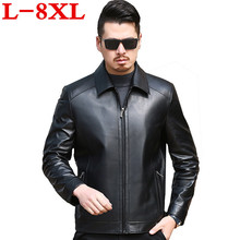 big size 8XL Autumn and  winter slim motorcycle Genuine leather coats men casual coat mens Leather lapel jacket fashion
