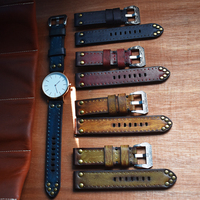 Handmade Vintage Genuine Leather Watchbands Red Green Black Yellow Blue Watch Strap Band Panerai Belt Carved Buckle18 20 22 24mm