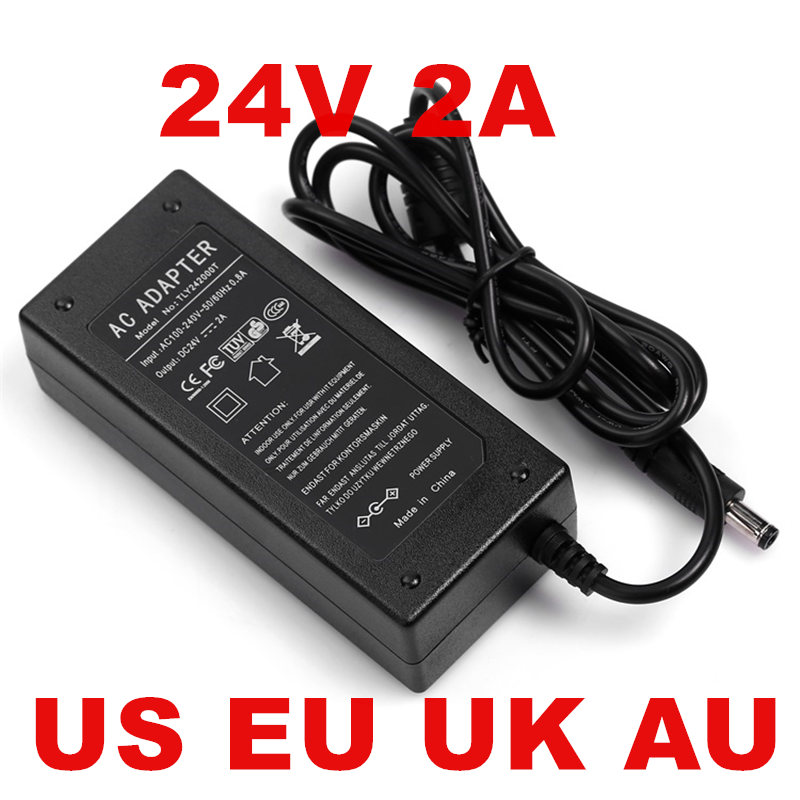 1PCS 48W 2A 24V Power Adapter 24V 2A 2000mA Power Supply Adapter 1PCS US EU UK AU plug AC line 1.2M AC-DC 100-240V