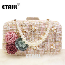 ETAILL Appliques Flower Beading Woolen Clutch Bags with Pearl Luxury Designer Brand Evening Bag Ladies Banquet Party Hand Bag amasie luxury evening bag diamond hand bag ladies banquet bag rhinestone clutch bohemian style egt0337
