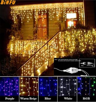 цена на Christmas Garland LED Curtain Icicle String Light 220V 4.5m 100Leds Indoor Drop LED Party Garden Stage Outdoor Decorative Light