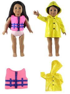 Лидер продаж! 2 комплекта, Повседневное платье одежда наряд ручной работы плащ и спасательный жилет для 18