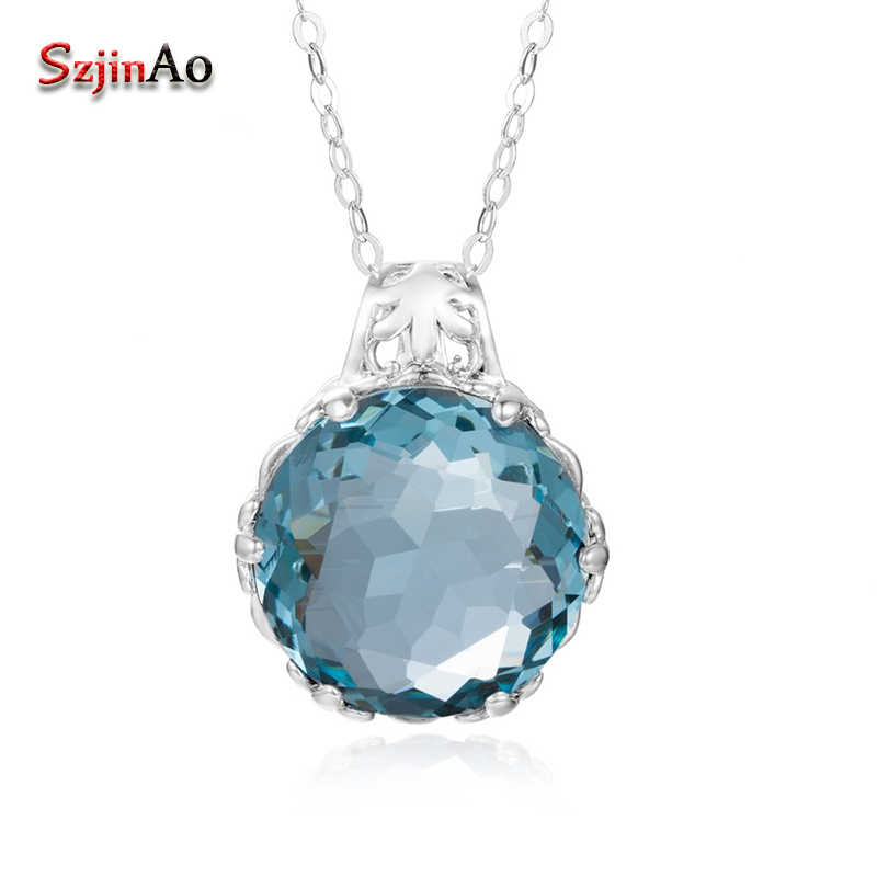 Szjinao Austrian Blue Crystal Crown Pendant Fashion White Gold Color Necklaces & Pendants For Women Wedding Thomas Sabor Jewelry
