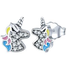 ed0e4cd15 Paylor 2019 New Fashion Silver Color Dazzling Licorne Memory Pandora Stud  Earrings for Women Friendship Party Jewelry Gifts