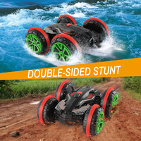 GizmoVine 1:18 RC Stunt Car 360 Rotate Remote Control Car Driving on Water and Land Amphibious Electric Toys Children