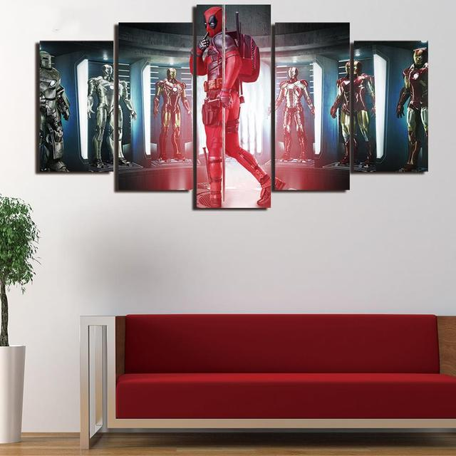 5 Panel Framed HD Printed Deadpool Iron Man Film Wall Art Picture ...