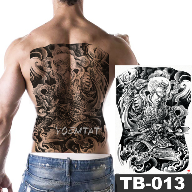 5f9f2bbaa46f4 1 Sheet Big Large Full Back Chest Tattoo Sticker Chinese Traditional style  warrior Body Art Temporary Waterproof for Men Tattoo