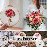 Bouquet de fleurs de broderie Couture Point de croix avec cadre de cerceau pour débutant Swing Art peinture artisanat cadeau de mariage 6