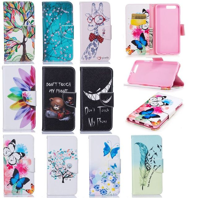 timeless design fb1db fe18d For HUAWEI P10 Lite Case Painted Flip Case Wallet Leather Case For Huawei  P10 Plus Case Cover Pig Bear Bone Butterfly Balloon-in Wallet Cases from ...