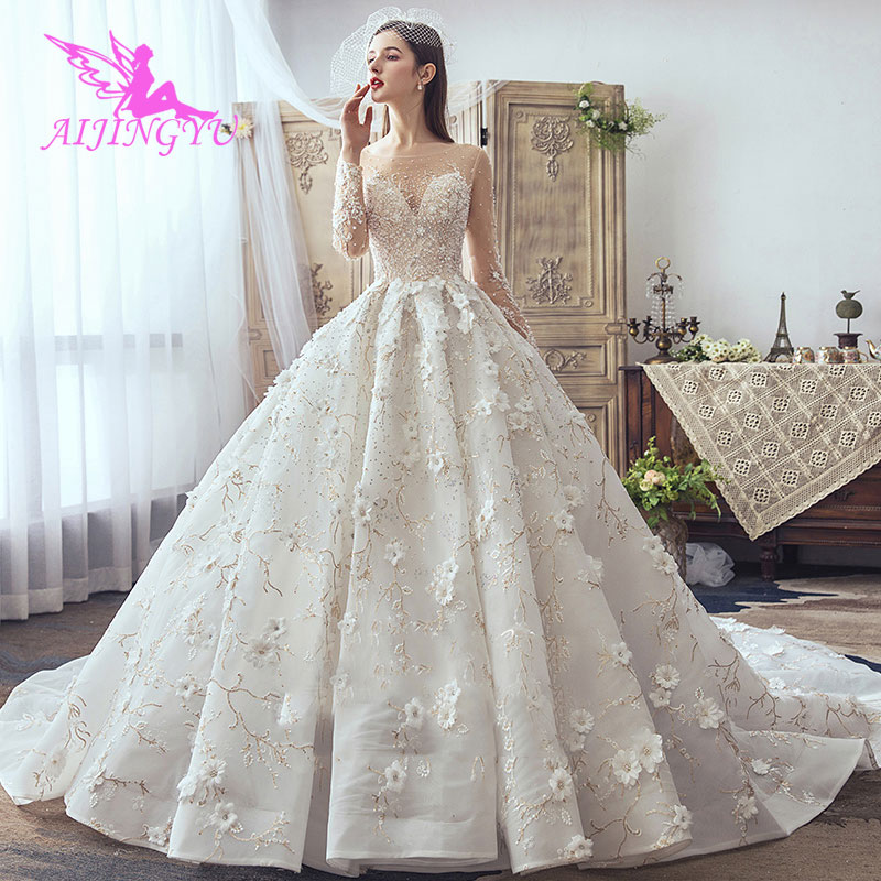 AIJINGYU Bridal Dresses Wedding Dress See Through Luxury Shops Lace Preowned Gowns Wedding Gown With Crystals