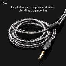 Honesum trn 8 núcleo banhado a prata cabo fone de ouvido alta fidelidade mmcx/2pin conector uso para trn v10/v20/v60 tfz hq8 hq6 hq5