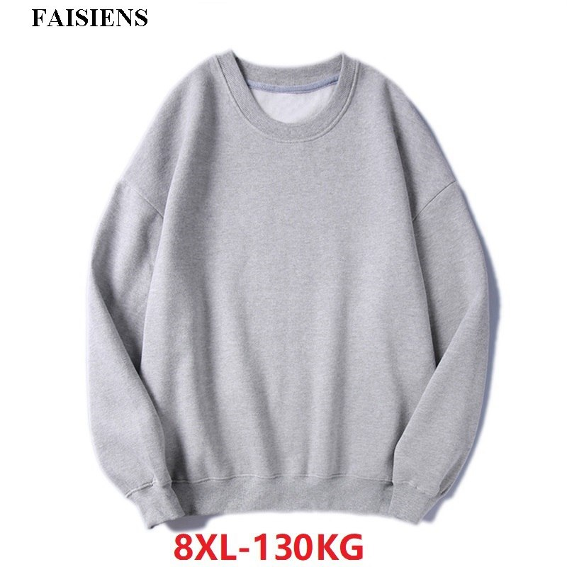 FAISIENS High Street Fleece Men Casual Sweatshirts Pull Over Loose Hipster Large Size 7XL 8XL Teens Cotton Autumn Sweatshirts