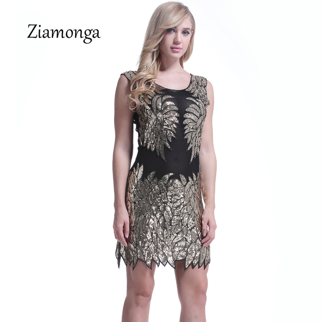 Ziamonga Shining Women 1920s Flapper Dress Vintage Gatsby Charleston