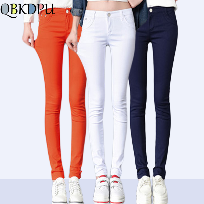 High Elastic Force Pencil Pants   Jeans   Formal Pants Female Black and White Plus Size Casual Trousers Streetwear Sweatpant Women