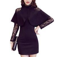 2018 Dresses Women Autumn Sexy Slim Black Lace Dress Elegant Cape Long Sleeve Half Turtleneck Patchwork Office Lady Dress Party