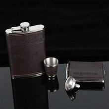 Высокое качество Для мужчин 9 унций плоская фляжка набор Нержавеющая сталь фляга мужской карманная для напитков посуда с сигареты чехол гаджеты и в качестве подарка для Для мужчин