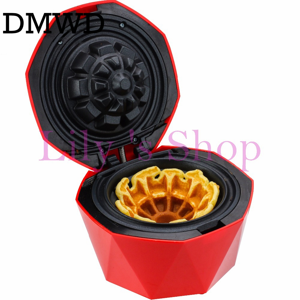 DMWD Electric Ice Cream cone oven eggs Crispy Waffle Bowl Maker Iron Mold Plate Cup Cake Machine Nonstick household Baker US EU