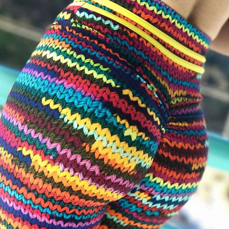 New Printed Yoga Sports Leggings Hip High Waist Women Slim High Waist Sports Leggings Yoga Pants Gym Fitness Elastic Trousers 3