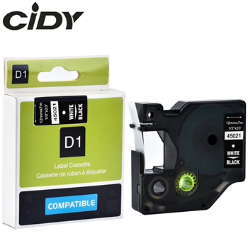 cidy 50PCS White on Black 12mm*7m 45021 label tape for compatible dymo d1 tapes for DYMO LM160 LM280 PNP