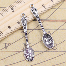 8pcs/lot Charms pattern spoon 48x10mm Antique Silver Pendants Making DIY Handmade Tibetan Finding Jewelry for Bracelet