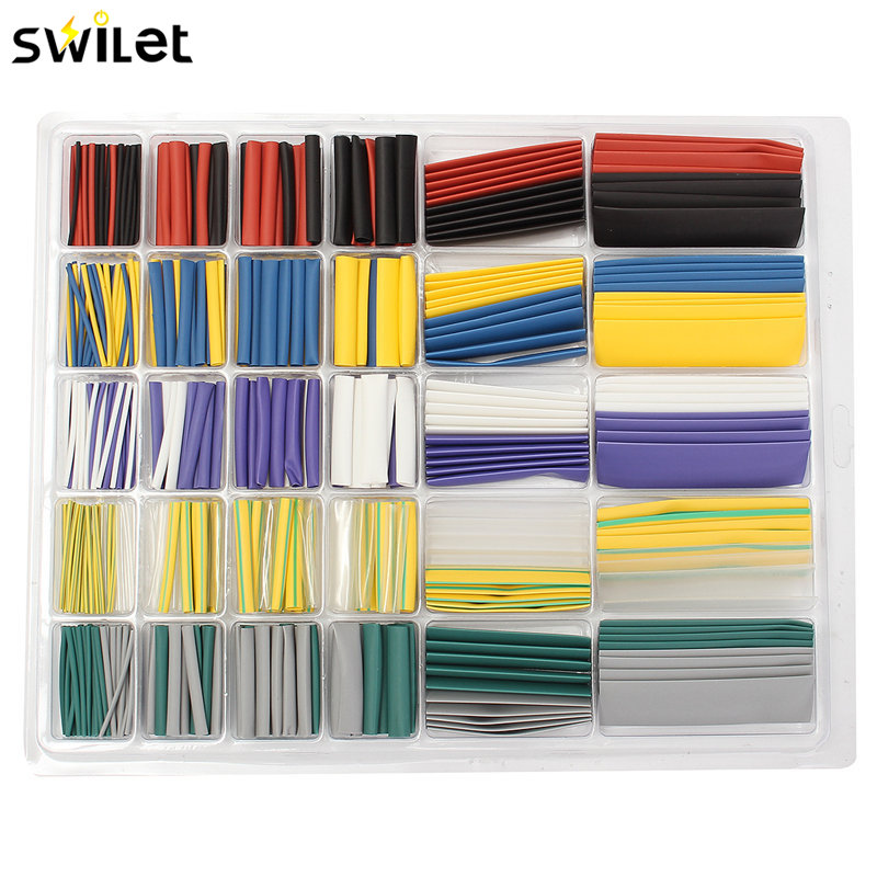 500PCS Polyolefin 2:1 Heat Shrink Tubing Electrical Wrap Wire Cable Sleeving Kit 10 Colors Shrinkable Tube Assortment Set