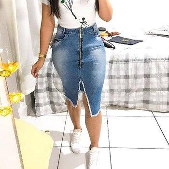 Front Zipper Split Hem Frayed Trim Denim Skirt