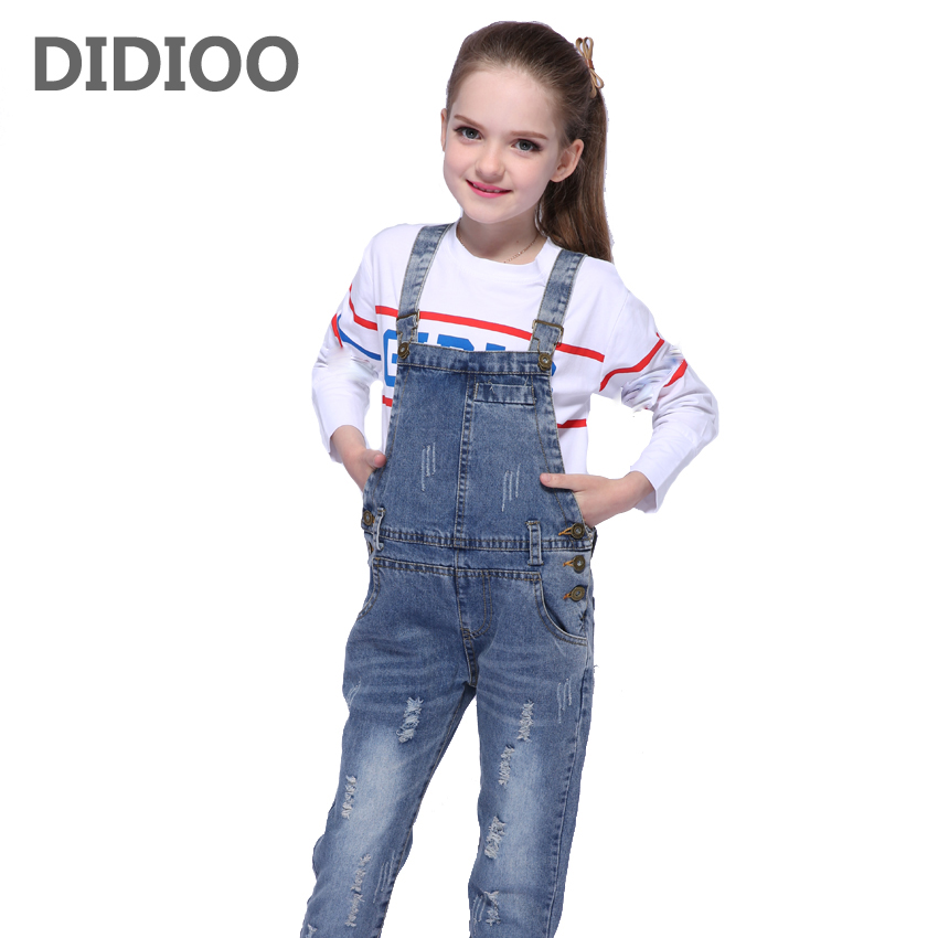 Children Ripped Jeans For Girls Jumpsuits Casual Brand Denim Overalls For Girls Clothing Spring Autumn Kids Trousers 2 5 9 11 12 2016 spring autumn fashion brand mens slim jeane overalls casual bib jeans for men male ripped denim jumpsuit