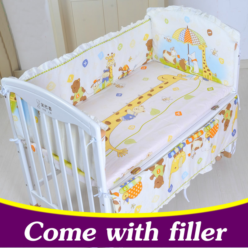 5PCS 100X60 Cotton Baby Crib Bedding Set  With Bumper Baby Bed Sets Baby Cot Bumper Baby Crib Bumper With Filler CP01 baby bedding set 5 pcs 100