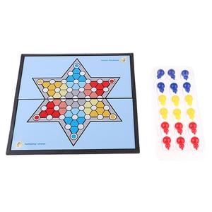 Juego de mesa de rompecabezas hexagonales para adultos y niños, ajedrez para saltar, juego de viaje