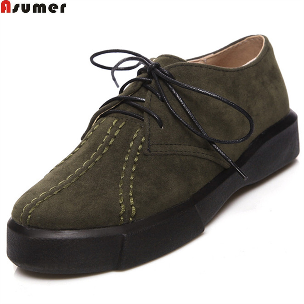 ASUMER big size 34-43 black army green fashion spring autumn ne 2018 ladies shoes round toe lace up casual women flat shoes creepers platform korean suede medium wedge autumn high heels shoes big size casual black pumps green round toe ladies fashion