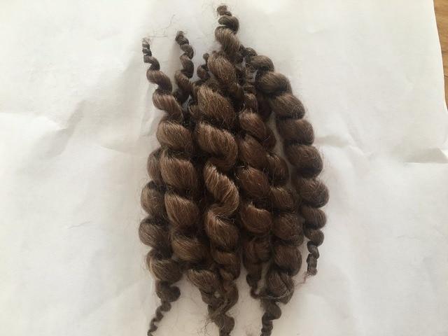 Hair for dolls premium curly dark brown mohair Reborn baby doll kit accessories 11cm 8 stripes 20g