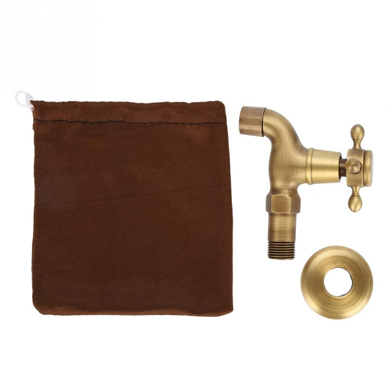 Vintage Solid Brass Faucet Bathroom Wall Mounted Single Cold Water ...