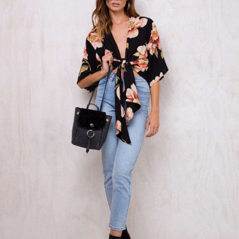 Summer Casual Women Tops Deep V-Neck Half Sleeve Bandage Floral Printed Shirts Blouses 2017