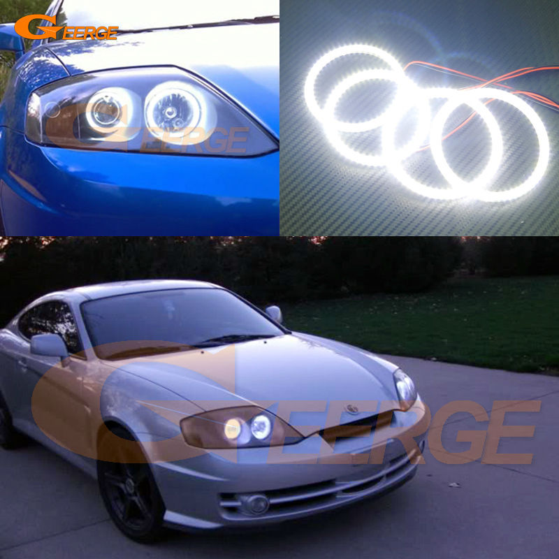 For Hyundai Tiburon 2003 2004 2005 2006 Excellent angel eyes Ultra bright illumination smd led Angel Eyes Halo Ring kit hochitech excellent ccfl angel eyes kit ultra bright headlight illumination for hyundai tiburon 2003 2004 2005 2006