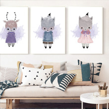 Nordic Style Kids Decoration Cartoon Animal Cute Rabbit Bear Fox Wall Art Poster And Print Wall Picture For Kids Room Home Decor cute kids satchel with star print and bear shape design