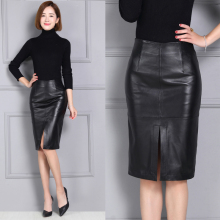 Women sheepskin genuine leather medium-long skirt