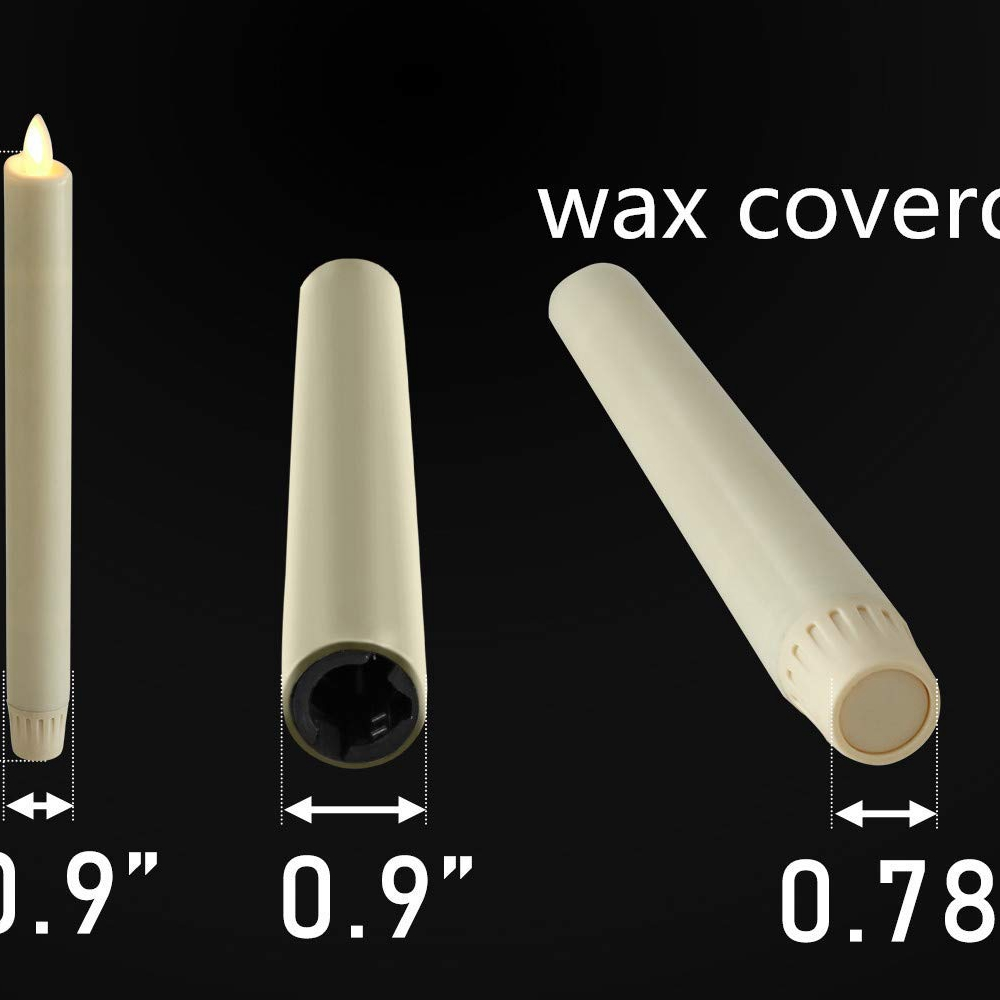Ksperway 8 quot Ivory Unscented Wax Flameless LED Taper Candle with Silver Color Candle Holder Timer and Remote Set of 2 in Candles from Home amp Garden