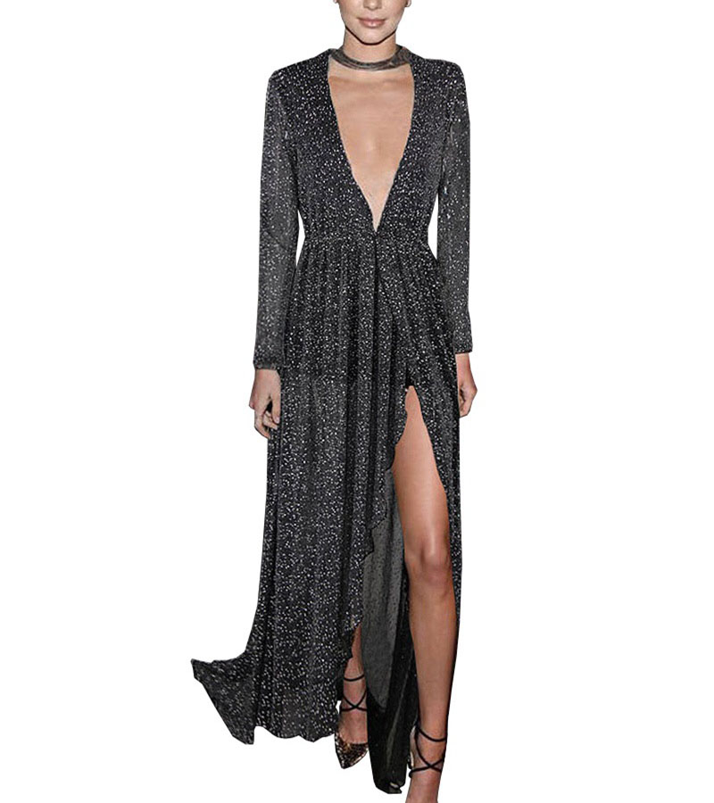 Women Sexy Glitter Evening Party Vestidos Dress Deep V-neck Long-sleeve Hot silver See-through Maxi Long Dress A10DR310