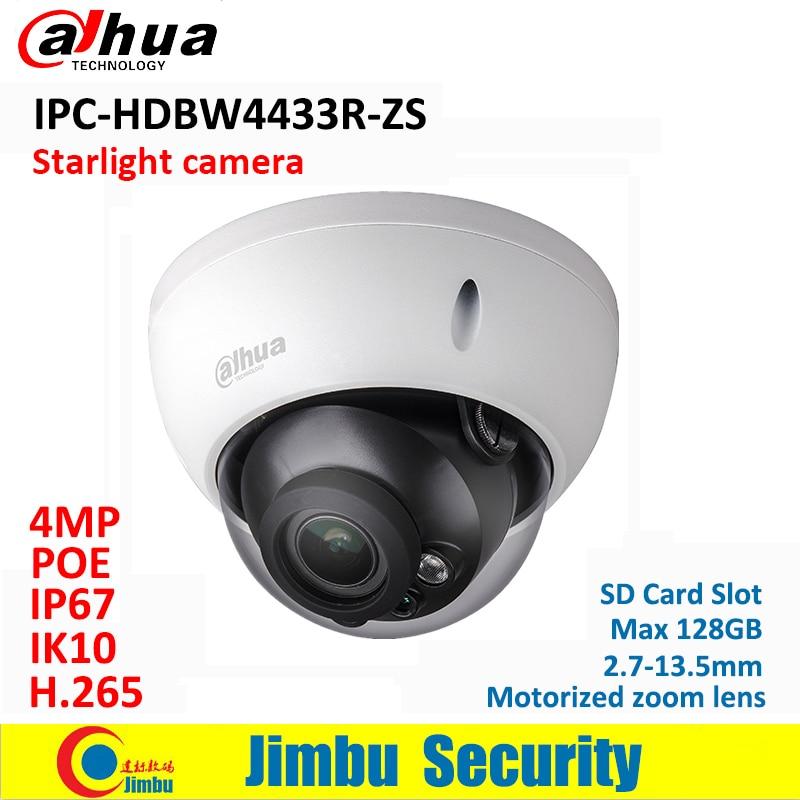Dahua IP Camera POE 4MP IPC-HDBW4433R-ZS starlight 2.7mm ~13.5mm motorized lens H2.65 IR50M SD Card slot IP67 IK10 dahua ip camera poe 4mp ipc hdbw4433r zs starlight 2 7mm 13 5mm motorized lens h2 65 ir50m sd card slot ip67 ik10