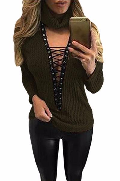 Green-Turtleneck-Lace-Up-Grommet-V-Plunge-Sweater-LC27633-9-1