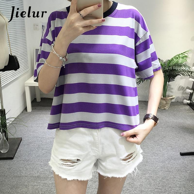 Jielur Fashion Purple Striped Short-sleeved Female T-shirt Harajuku O-neck T shirt Women Casual Girls All-match Tee Shirt S-XL