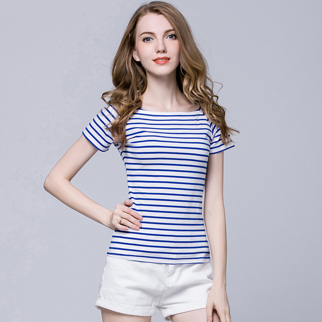Redblueblackwhite Striped T Shirt Women Fashion Short -6903
