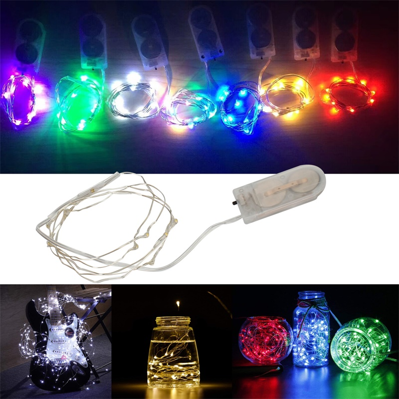 10 20 30 LED String Fairy Garland Lights Copper Wire Lighting For Holiday Xmas Tree Wedding Party Decor Power By CR2302  Battery