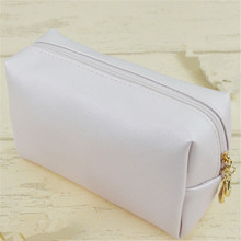 1 pc Leather Zipper Cosmetic Bag Women Simple Travel Beauty Case Portable Wash