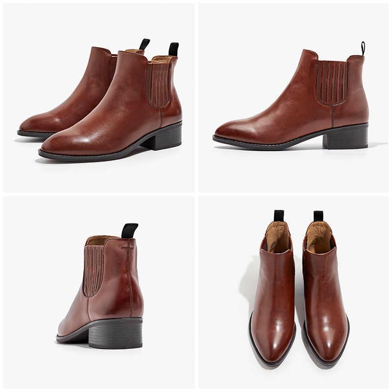 BeauToday Chelsea Çizmeler Kadın En Kaliteli Hakiki Buzağı Deri bileğe kadar bot Sivri Burun Sonbahar Kış Bayan Marka Ayakkabı 03234
