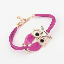 New Fashion Owl Bracelets For Women Men Suede Cord Rope Chain Owl Bracelet For Girls Boys Faux Leather Owl Charms Bracelet цена