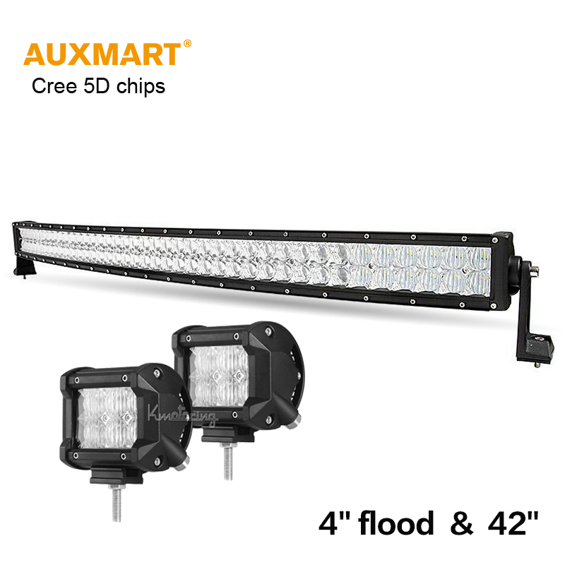 Auxmart 42inch 400w CREE 5D chips LED light bar curved Offroad combo beam + 4 inch 30W flood work lights SUV ATV 12v 24v 4x4 4WD auxmart 42inch 400w cree 5d chips led light bar curved offroad combo beam 7inch 60w flood bar light suv atv 12v 24v 4x4 4wd 2wd