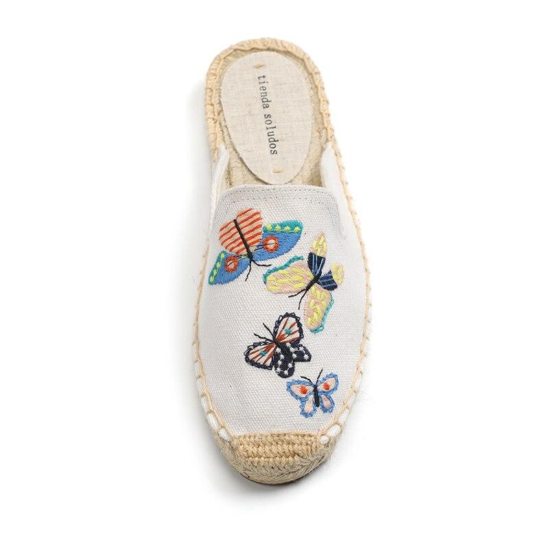 Tienda Soludos Women's Simple Mule Breathable Flat Espahemp Summer Rubber Cotton Fabric Floral Drilles Shoes, Pure Color Mules  1